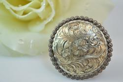 Vintage Floral Scroll Round Pendant Silver