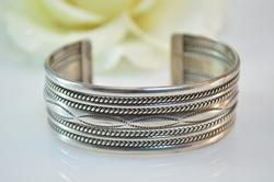Broad Rope Detailed Cuff Bracelet Silver