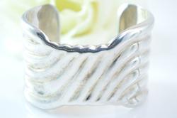 Broad Ridged Cuff Bracelet Silver