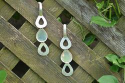 Triple Teardrop Dangle Earrings Silver