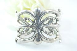 Chunky Elegant Cut Out Cuff Bracelet Silver