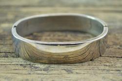 Taxco Simple Hinged Bangle Bracelet Silver
