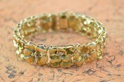 Elegant Genuine Diamond Accented Floral Link Bracelet Silver