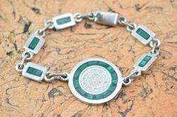 Malachite Detailed Mayan Calendar Link Chain Bracelet Silver