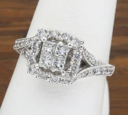 14K White Gold Invisible Set Diamond Ring