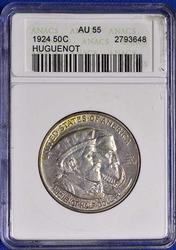 1924 Huguenot Comm Half in an old ANACS AU 55 holder