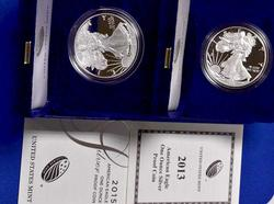 2013 And 2015 Proof Silver Eagles with Box and Papers