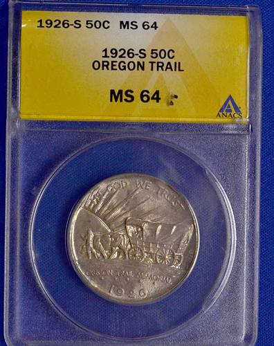 1926 S Lightly Toned Oregon Trail MS 64 ANACS Holdered