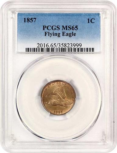 1857 Flying Eagle 1c PCGS MS65