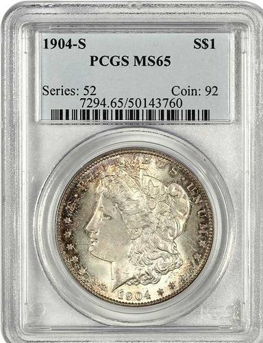 Key S Mint Morgan 1904-S $1 PCGS MS65