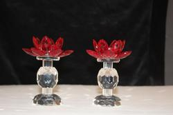 Lotus Pair on Pedestal Ruby