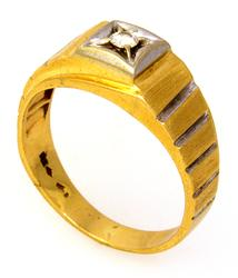 Men's Diamond Ring in Two-Tone Gold, Size 9.75