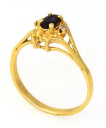 Sapphire Ring with Diamond Accents in Gold, Size 6