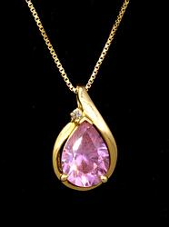 Sparkling Pink CZ Pendant in Gold on 31in Chain