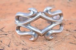 Dark Patina Scroll Cuff Bracelet Silver