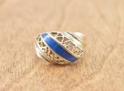 Filigree Blue Enamel Inlay Band Ring Size 6 Silver