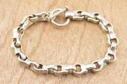Hook Link Chain Bracelet Silver