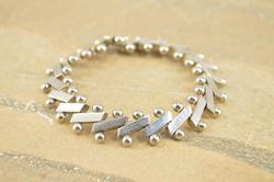 Diagonal Ball Bar Hinged Bead Bracelet Silver