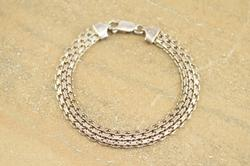 Fancy Mesh Design Link Bracelet Silver