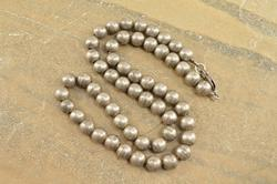 Round Ball Beaded Necklace Silver