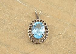 Victorian Style Prong Set Blue Oval Stone Pendant Silver