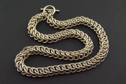 Two Textured Interlocking Cable Link Necklace Silver