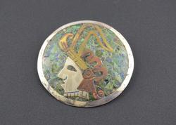 Green Blue Chip Inlay Round Tribal Profile Bust Pin / Brooch Silver