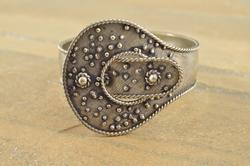 Ornate Buckle Design Granulated Textured Cuff Bangle Bracelet Silver