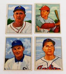 4 Early Bowman 1950 Baseball Cards