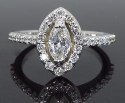 14K White Gold Marquise Cut Halo Diamond Ring