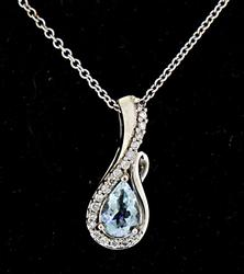 Brilliant 14kt Aquamarine & Diamond Pendant