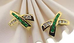 14kt Diamond & Emerald Earrings