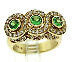 Unique 14kt Tsavorite & Diamond Halo Ring