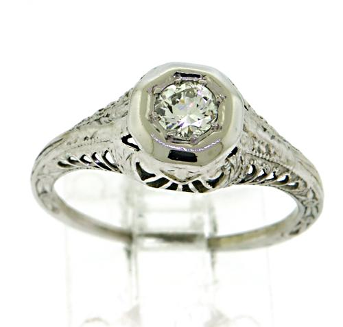 Vintage 18kt Diamond Filagree Ring