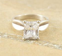Brilliant Cut Prong Set CZ Engagement Style Curved Ring Sz 11 Silver