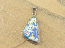 Triangular Yellow Blue Confetti Art Glass Grooved Pendant Silver
