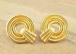 Brushed Finish Gold Plated Tiered Design Clip Back Earrings Silver