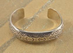 Southwestern Geometric Design Stamped Cuff Bracelet Silver