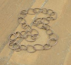 Curved Open Oval Hammered Link Necklace Silver