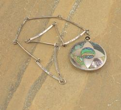 Abalone Inlay Geometric Design Bar Link Necklace Silver