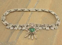 Carved Malachite Face Eagle Fringe Geometric Link Necklace Silver