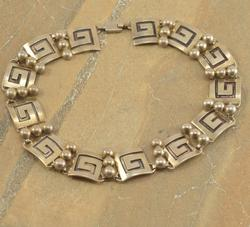 Greek Key Ball Beaded Link Chain Necklace Silver