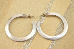 Pressed Curved Post Back Semi Hoop Earrings Silver