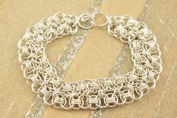 Chain Mail Design Two Textured Layered Cable Bracelet Silver