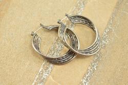 Tiered Twist Design Vintage Style Hinged Hoop Earrings Silver
