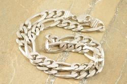 Fancy Figaro Link Chain Necklace Silver