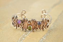 Artisan Design Purple Green Cabochon Abstract Cuff Bracelet Silver