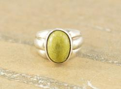 Yellow-Green Oval Bezel Set Cabochon Grooved Ring Size 7.75 Silver