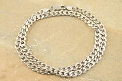 Pressed Fancy Curb Link Chain Necklace Silver