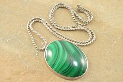 Pressed Fancy Serpentine Malachite Oval Cabochon Necklace Silver
